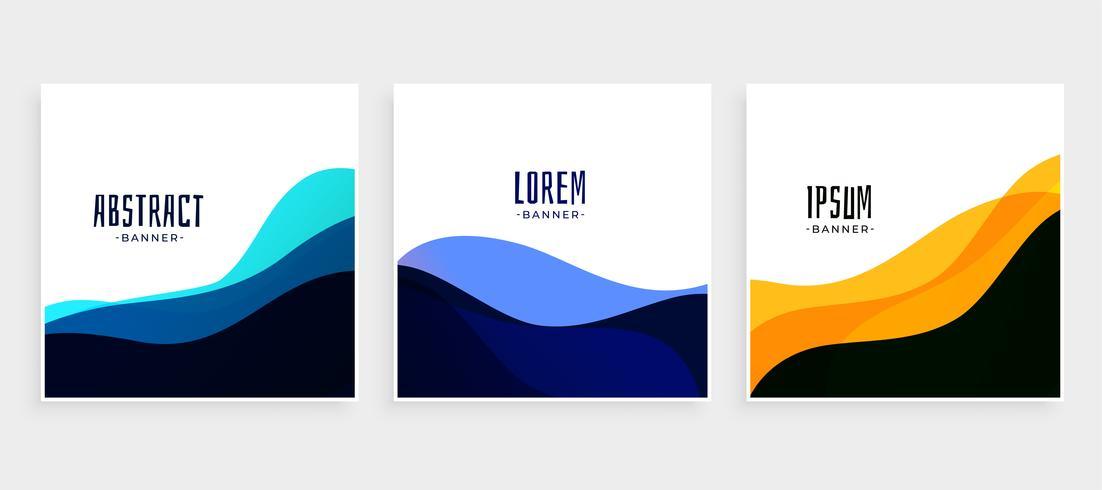 Satz von Wave-Banner in verschiedenen Farben
