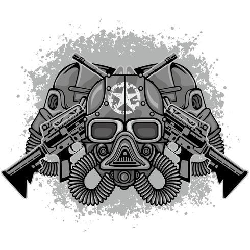 emblema industrial con calavera vector