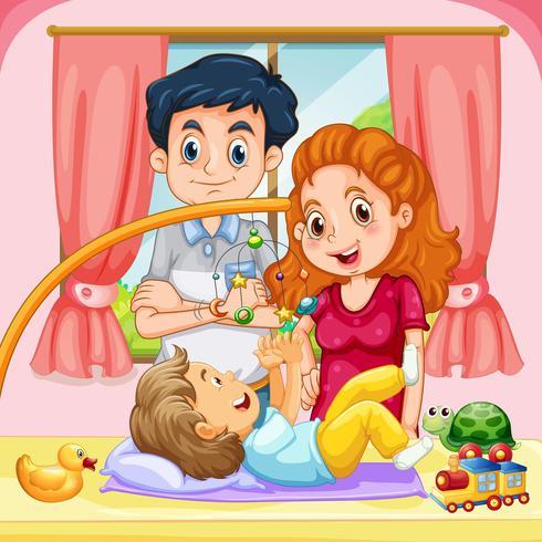 Famille avec enfant à la maison