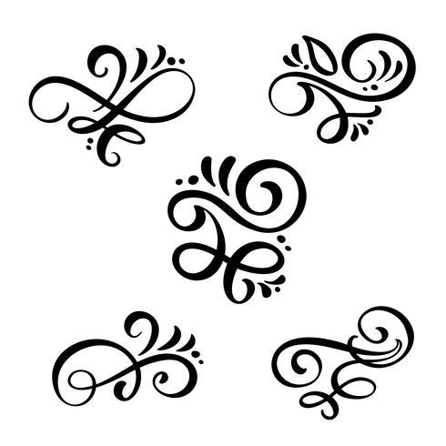 Set med vektor vintage linje eleganta dividers och separatorer, virvlar, och hörn