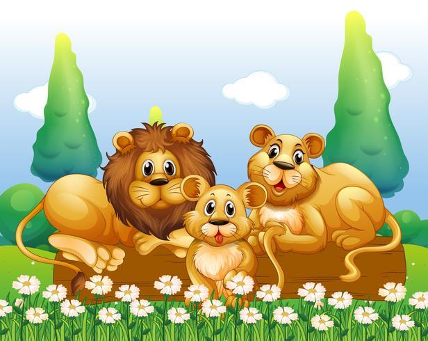 Leeuwfamilie die in de tuin rusten vector