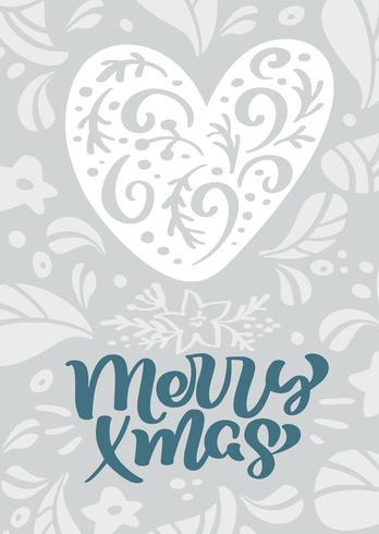 Calligraphie de vecteur scandinave joyeux Noël lettrage de texte dans la conception de carte de voeux de Noël avec cœur. Illustration dessinée de texture florale à la main. Objets isolés