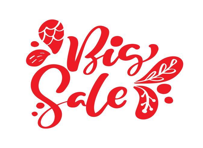 Grande calligrafia rossa di vendita e testo dell'iscrizione su fondo bianco. Illustrazione disegnata a mano di vettore EPS10. Modello di banner pubblicitari offerta speciale