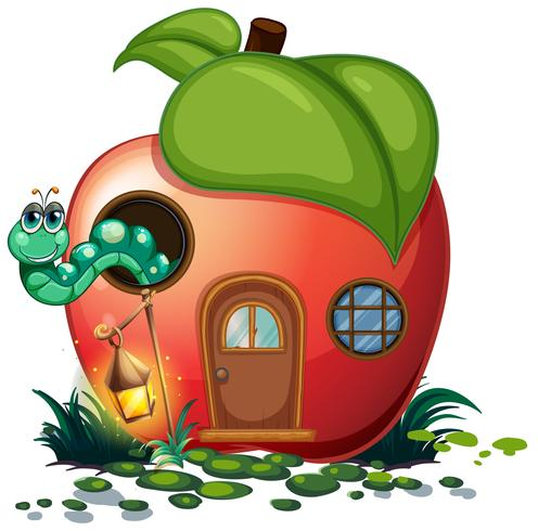 Apple house with caterpillar inside