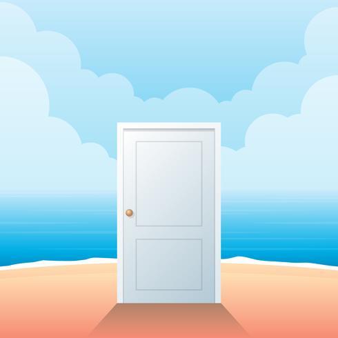 Geschlossene weiße Einstiegstür auf Strand-Vektor-Illustration