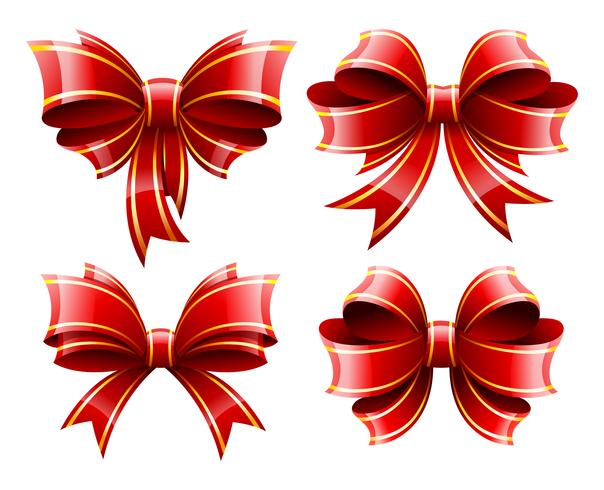 Vector set of beautiful red gift baws