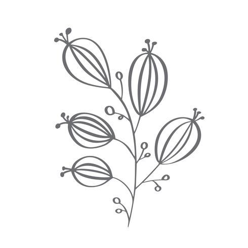 Christmas decorative branch elements design floral leaves in scandinavian style. Vector handdraw illustration for xmas greeting card