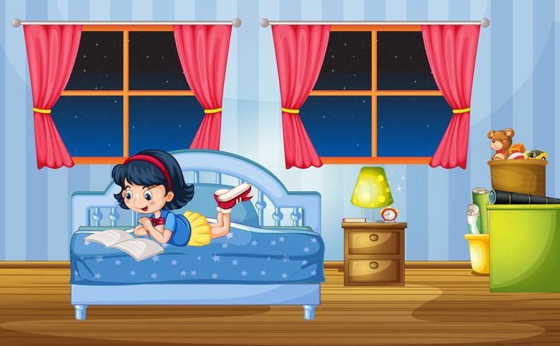 Mädchen liest auf dem Bett