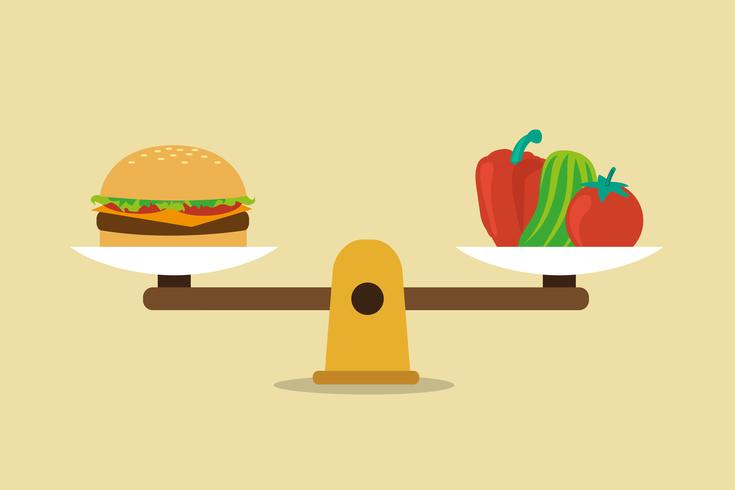 Healthy eating balanced diet concept vector