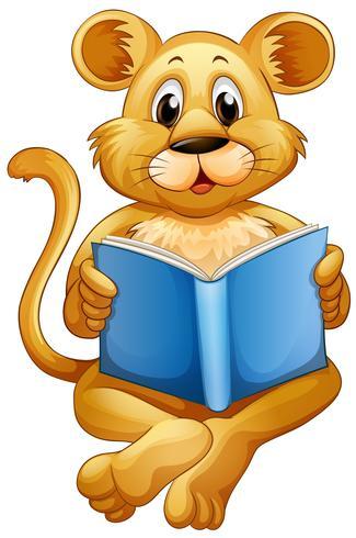 Löwenjunges, das blaues Buch liest