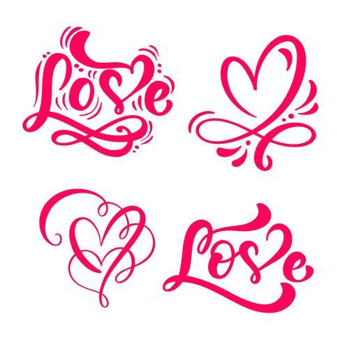 Ensemble de mot calligraphie rouge amour et coeurs