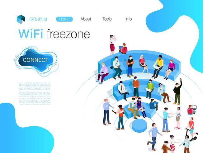 Persone nella zona wi-fi. Tecnologia di connessione wireless della zona Wi-Fi pubblica. Illustrazioni vettoriali 3d isometrico, Web, prestito, banner.
