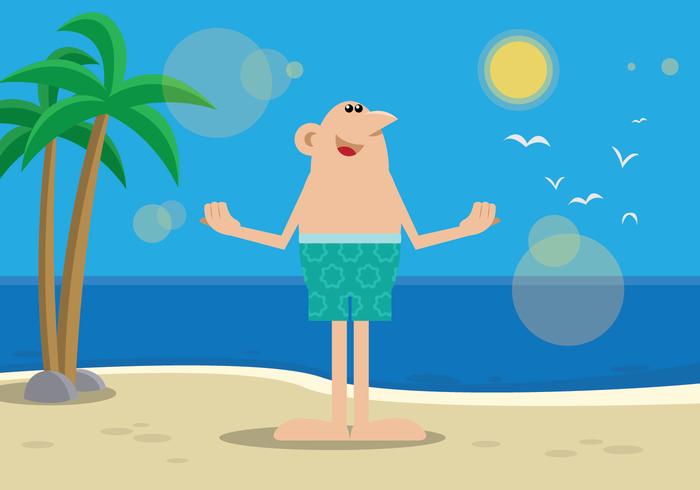 Ein Kerl, der ein Sonnenbad im Strand genießt