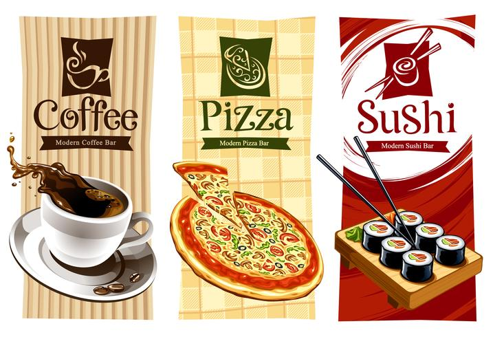 Diseños de plantillas de pancartas de alimentos. vector