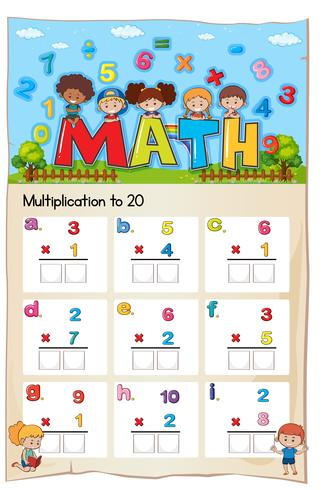 Math Worksheet Multiplication Number Chapter vector