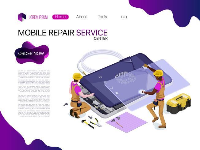 Povos do vetor sob a forma de um serviço de reparações do telefone modelos do projeto da ilustração do vetor 3D isométrico para o negócio.