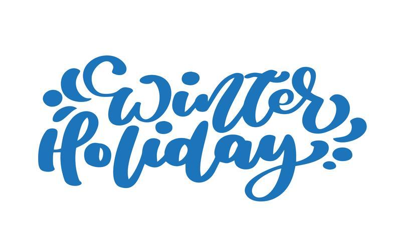 Texto azul del vector de las letras de la caligrafía del vintage de las vacaciones de invierno. Para la página de lista de diseño de plantilla de arte, estilo de folleto de maqueta, portada de banner, folleto de impresión de folletos, póster