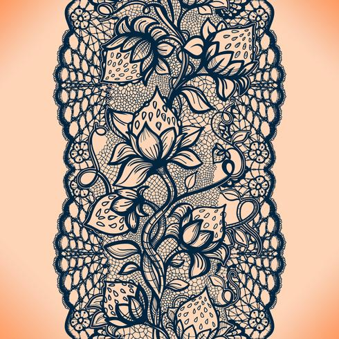 Abstract seamless lace pattern with flowers, leaves and strawberry. Infinitely wallpaper, garment decoration for your design