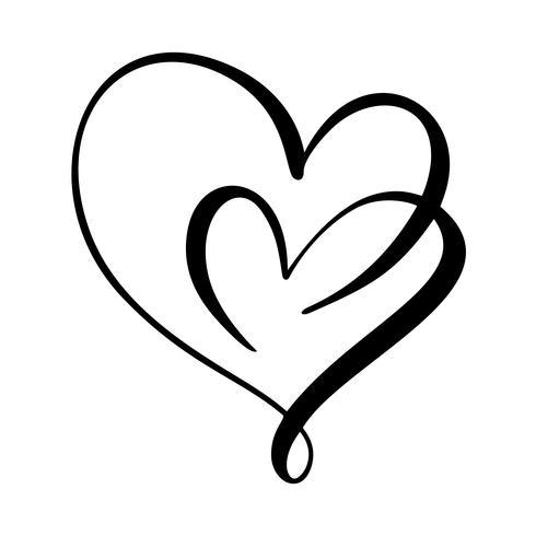 Sinal de coração amor caligráfico