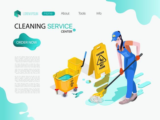 Mulher vestida de uniforme lava o chão no escritório. Serviço de limpeza profissional com equipamentos e pessoal.