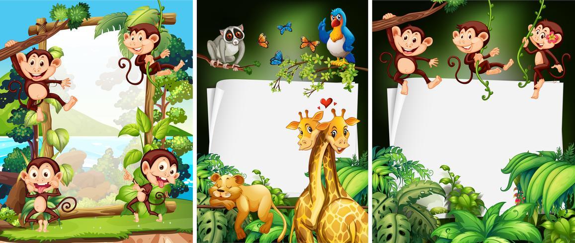 Diseño de banner con animales salvajes.