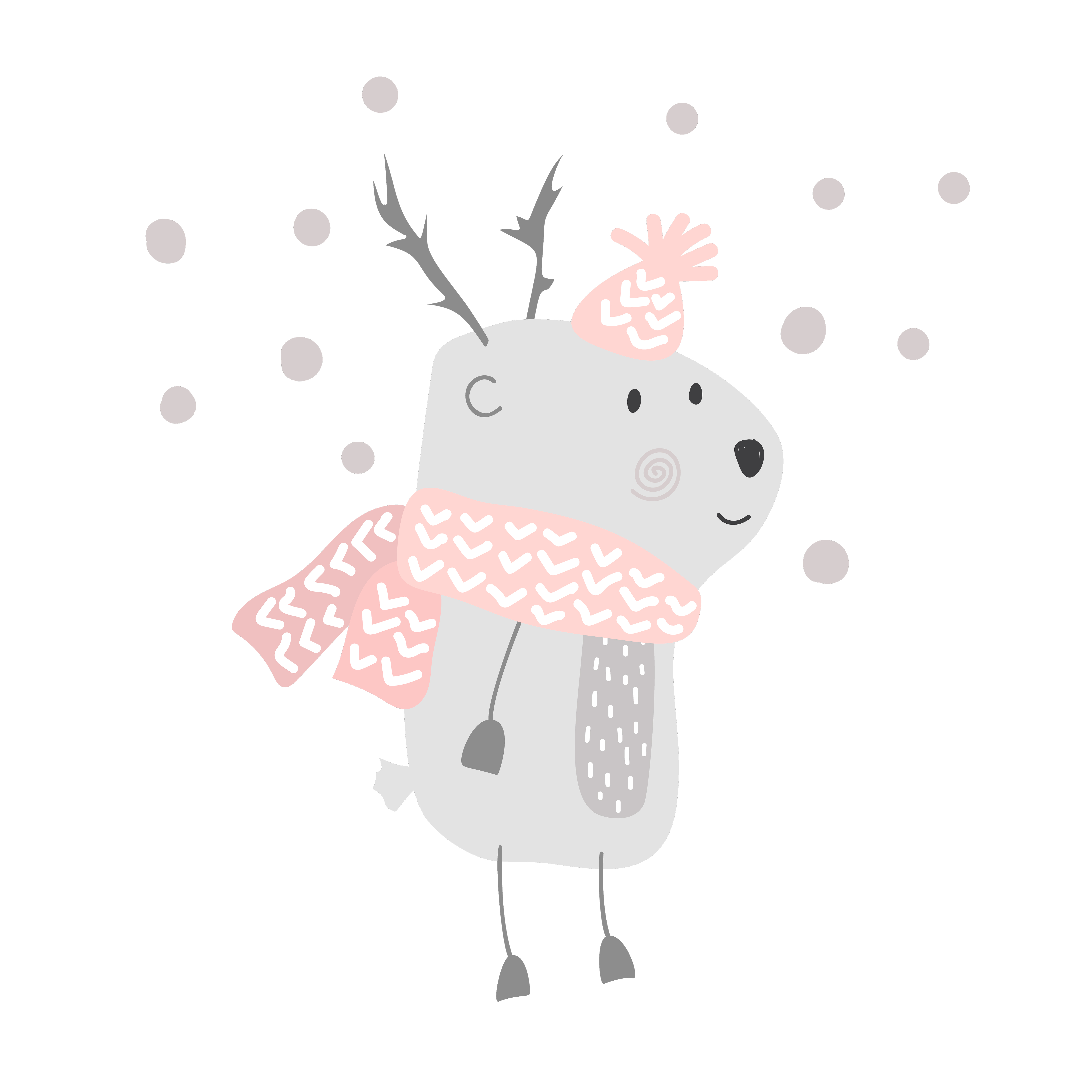 Christmas Vector Cute Cartoon Deer In Hat And Scarf Illustration Design Bambi Animal Vector Merry Xmas Greeting Card Download Free Vectors Clipart Graphics Vector Art