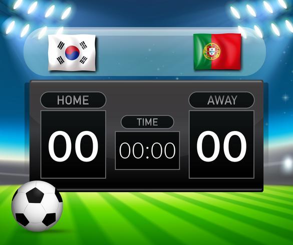 Soccer scoreboard south korea and portugal