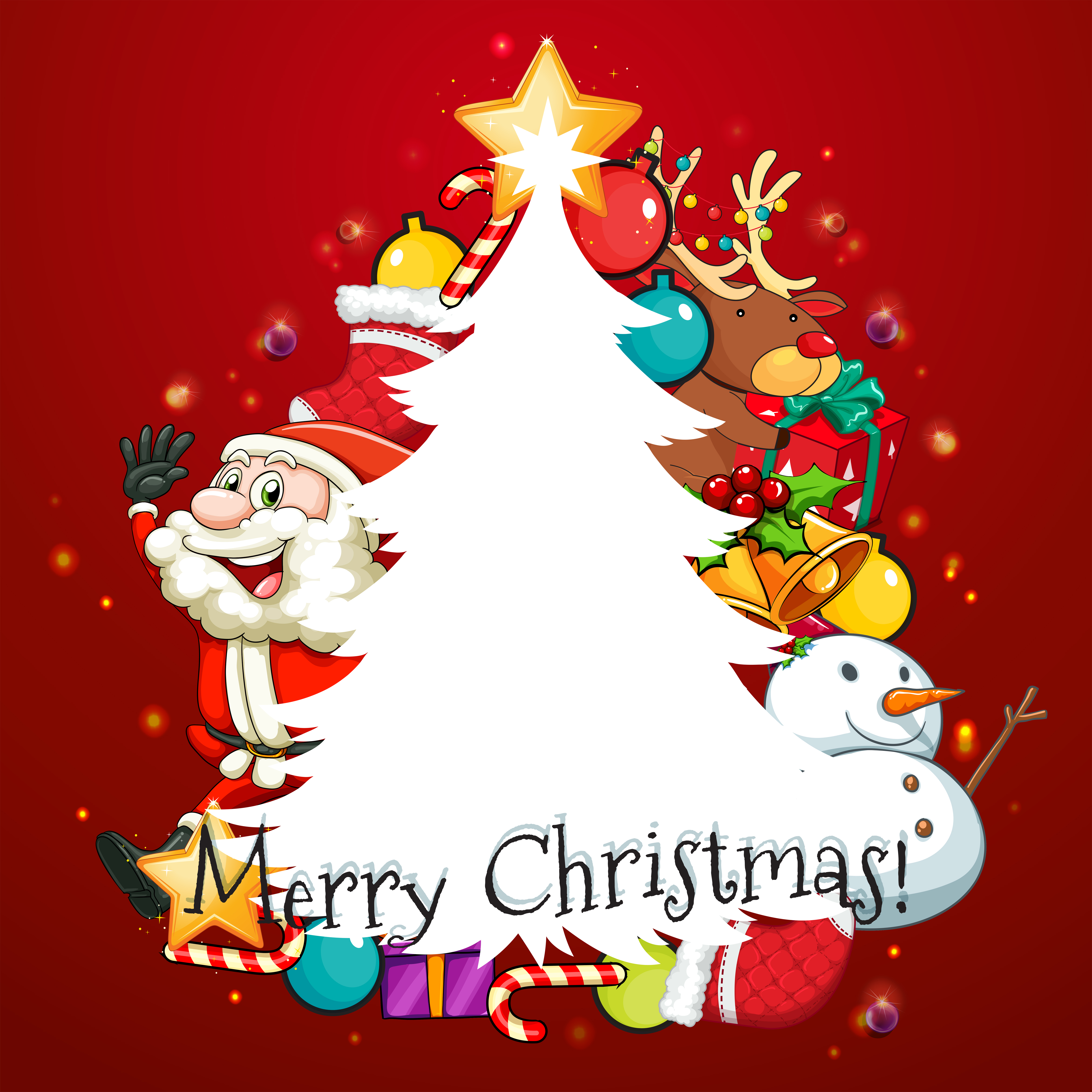 Christmas Tree Merry Christmas: Merry Christmas Card With Santa And Tree