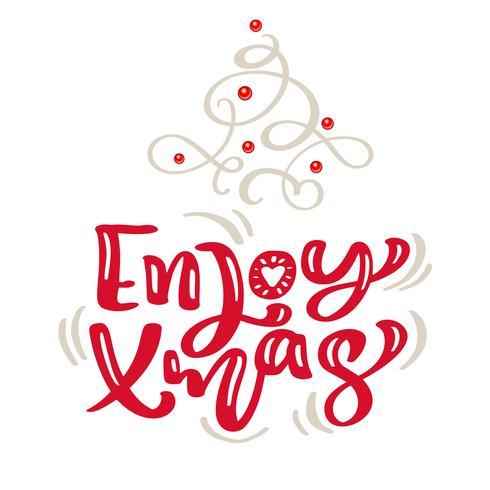 Árvore de abeto escandinavo tirado mão da ilustração do flourish. Texto da rotulação do vetor da caligrafia do Feliz Natal. cartão de natal. Objetos isolados