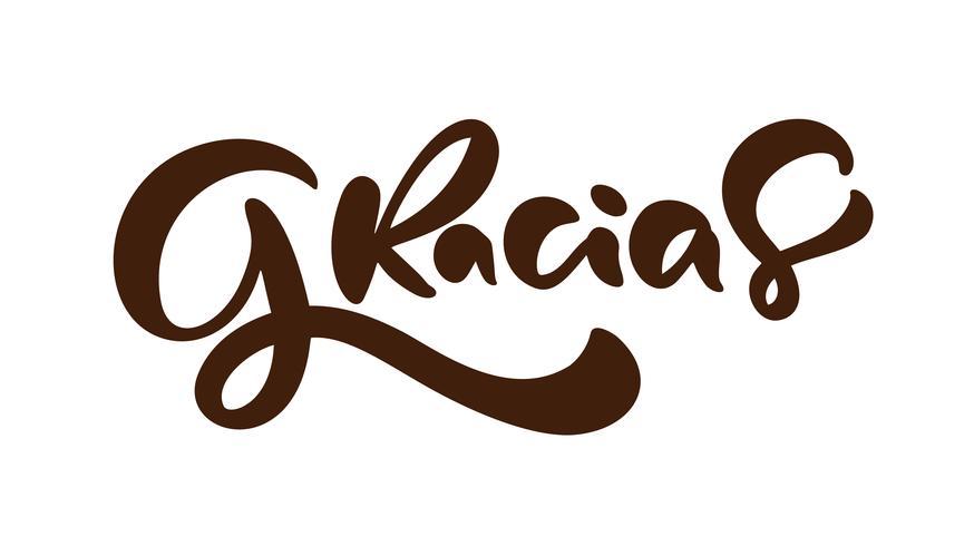 """""""Gracias"""" handskrivet bokstäver (""""tack"""" på spanska) vektor"""