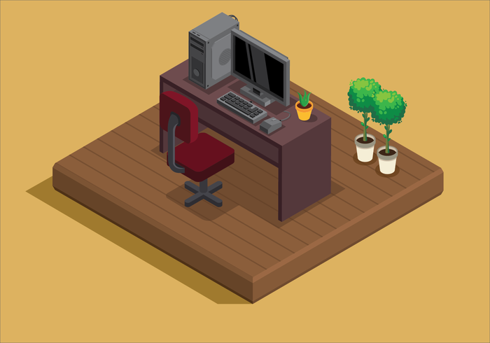 Working Room Isometric Style vector