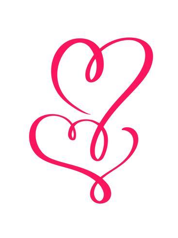 Junte los corazones caligráficos dibujados mano roja del día de tarjetas del día de San Valentín del vector dos. Diseño de vacaciones elemento de san valentín Icono de decoración de amor para web, boda e impresión. Ilustración de letras de caligrafía aisl
