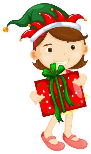 Weihnachtsmotiv mit dem Mädchen, das Präsentkarton hält