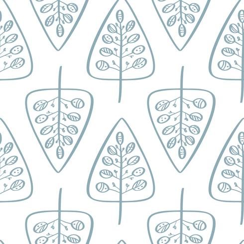 Christmas vector tree seamless pattern in Scandinavian style. Best for pillow, typography design, curtains
