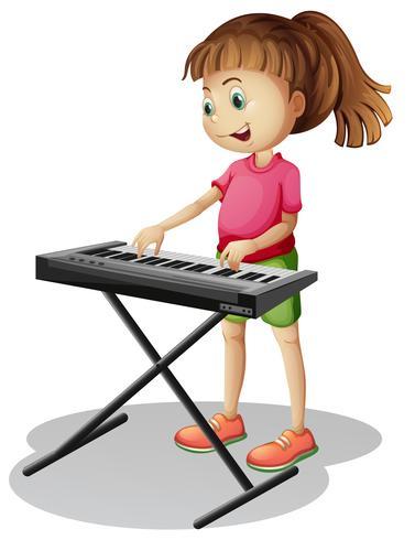 Menina, tocando, com, piano eletrônico
