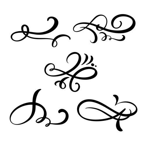 Sats med vektor vintage linje eleganta dividers, virvlar, och hörn