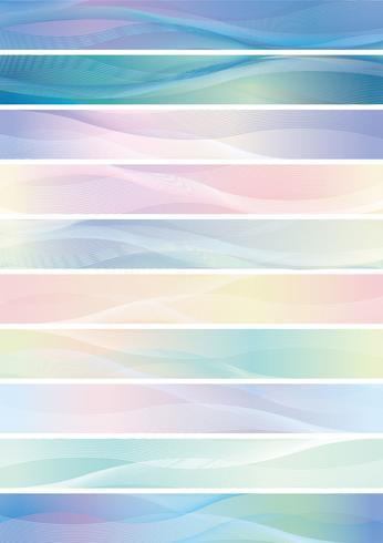 Fahnensatz des gewellten Musters, Vektorillustration.