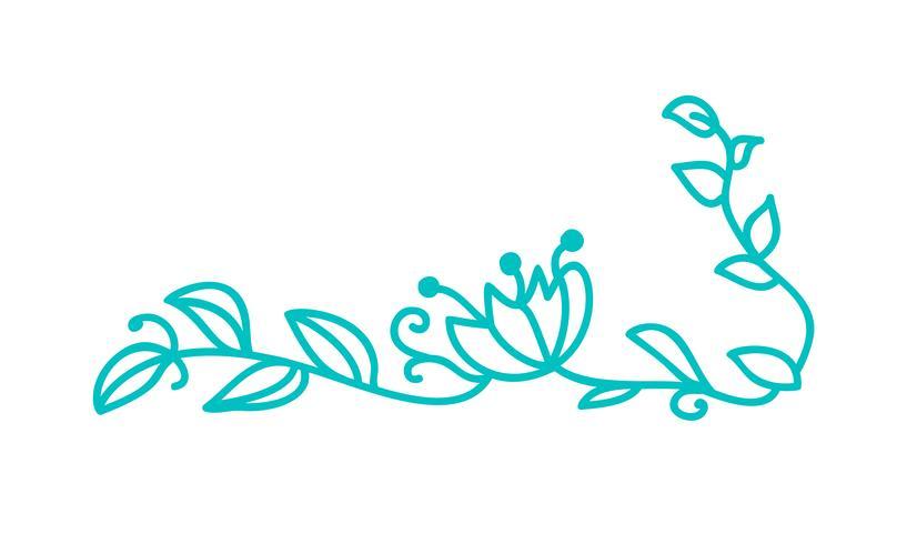 Turquoise monoline scandinavian folk flourish with leaves & flowers