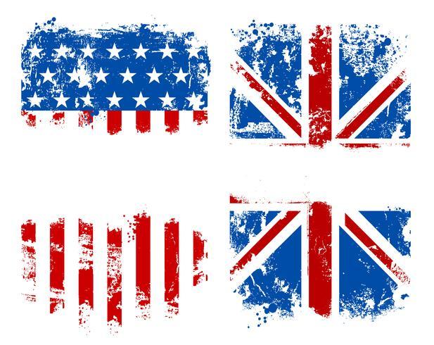 Bandiere di Grunge USA e bandiere nazionali del Regno Unito