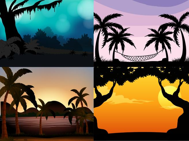Four nature scenes with silhouette trees