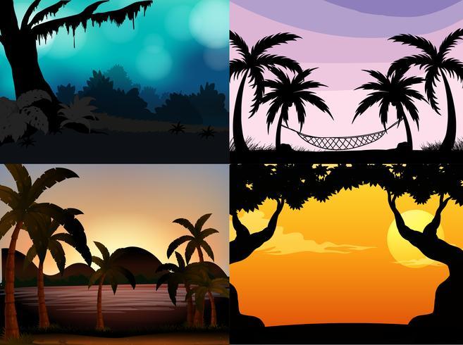 Vier natuurtaferelen met silhouetbomen