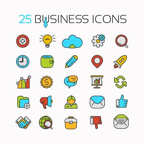 Set line color icons with flat design elements of business ideas, concepts, symbols.