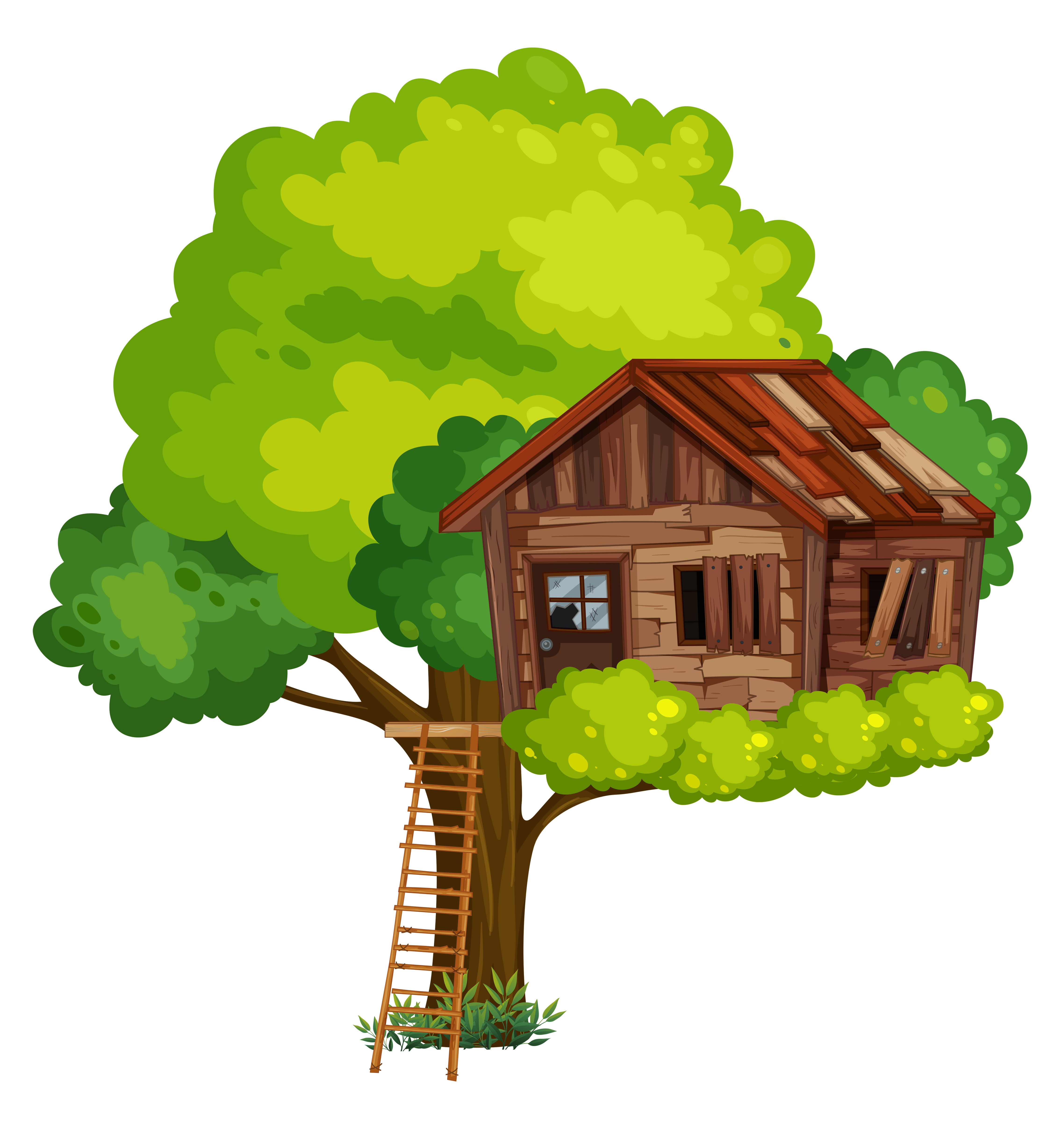Vector Illustration Tree: Old Treehouse Made Of Wood