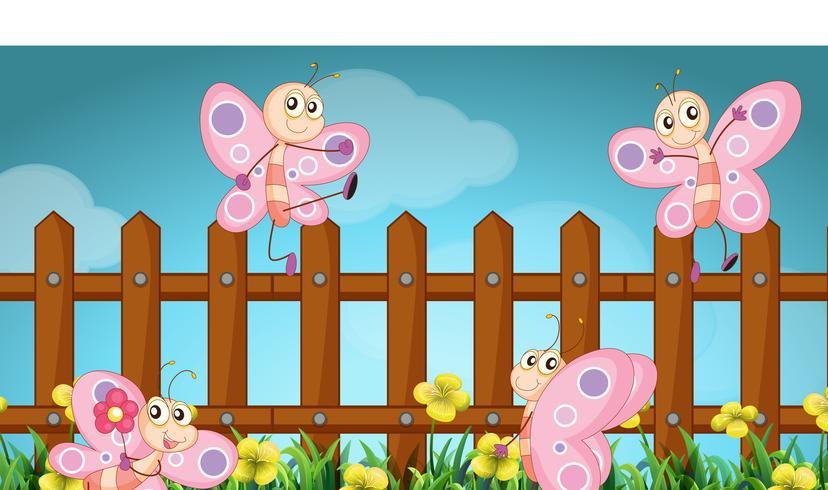 Scène avec des papillons et une clôture en bois