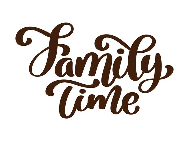 Family time - hand drawn vector lettering isolated on white. Thanksgiving greeting card template. Handwritten modern brush lettering white background isolated vector