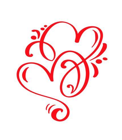 Couple vecteur rouge Saint Valentin dessinés à la main calligraphiques deux coeurs. Illustration de lettrage de calligraphie. Élément de conception de vacances valentine. Icon love decor pour le Web, le mariage et l'impression. Isolé