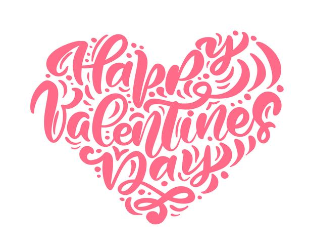 "Kalligraphiephrase ""Happy Valentine's Day"" in Herzform"