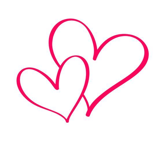 Paar rode Vector Valentijnsdag Hand getekende kalligrafische twee harten. Kalligrafie belettering illustratie. Vakantie ontwerp element valentine. Icoon liefdes decor voor web, bruiloft en print. Geïsoleerd