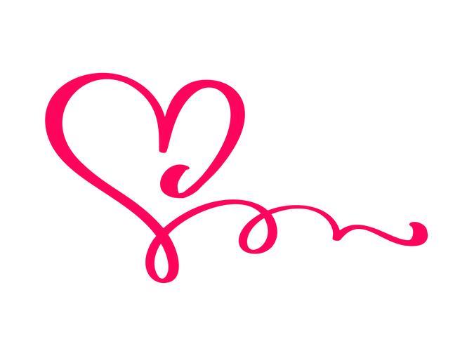 Gray Vector Valentines Day Hand getrokken kalligrafische hart. Vakantie ontwerp element valentine. Icoon liefdes decor voor web, bruiloft en print. Geïsoleerde kalligrafie belettering illustratie