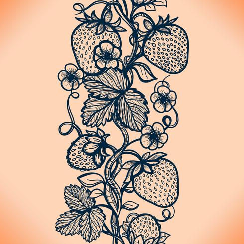 Vector dekorative Erdbeere des nahtlosen Musters des Spitzes, Blätter, verflochten mit viskosen Linien.